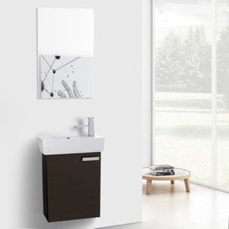 19 Inch Wenge Wall Mount Bathroom Vanity with Fitted Ceramic Sink, Mirror Included ACF C214