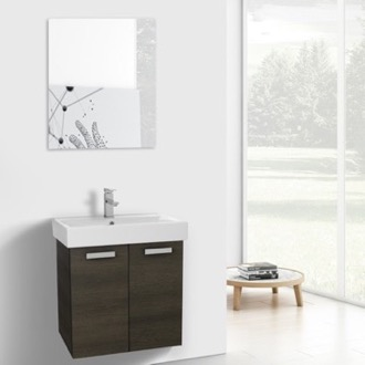 24 Inch Grey Oak Wall Mount Bathroom Vanity with Fitted Ceramic Sink, Mirror Included ACF C245