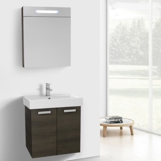 24 Inch Grey Oak Wall Mount Bathroom Vanity with Fitted Ceramic Sink, Lighted Medicine Cabinet Included ACF C883