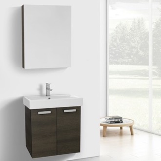 24 Inch Grey Oak Wall Mount Bathroom Vanity with Fitted Ceramic Sink, Medicine Cabinet Included ACF C884