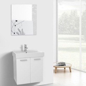 24 Inch Glossy White Wall Mount Bathroom Vanity with Fitted Ceramic Sink, Mirror Included ACF C229