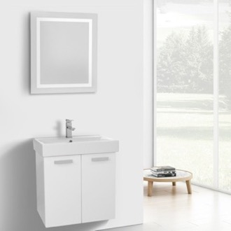 24 Inch Glossy White Wall Mount Bathroom Vanity with Fitted Ceramic Sink, Lighted Mirror Included ACF C230