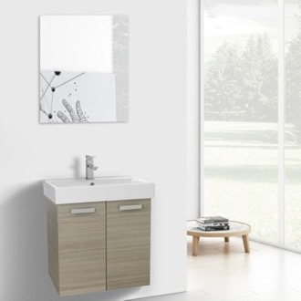 Bathroom Vanity 24 Inch Larch Canapa Wall Mount Bathroom Vanity with Fitted Ceramic Sink, Mirror Included ACF C253