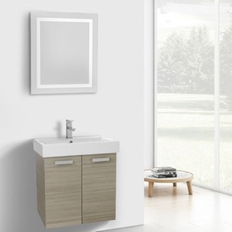 24 Inch Larch Canapa Wall Mount Bathroom Vanity with Fitted Ceramic Sink, Lighted Mirror Included ACF C254