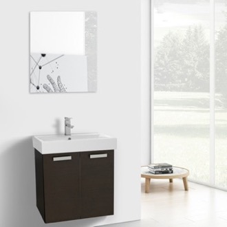 24 Inch Wenge Wall Mount Bathroom Vanity with Fitted Ceramic Sink, Mirror Included ACF C237