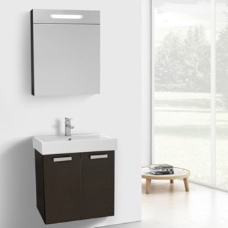 24 Inch Wenge Wall Mount Bathroom Vanity with Fitted Ceramic Sink, Lighted Medicine Cabinet Included ACF C901