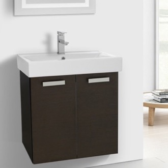 Bathroom Vanity 24 Inch Wenge Wall Mount Bathroom Vanity with Fitted Ceramic Sink ACF C142