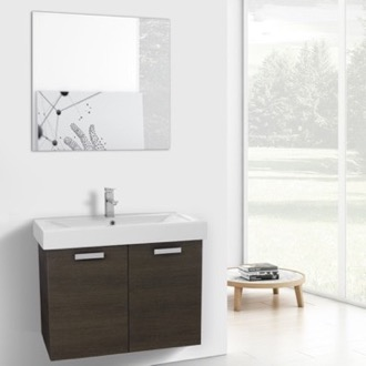 32 Inch Grey Oak Wall Mount Bathroom Vanity with Fitted Ceramic Sink, Mirror Included ACF C272