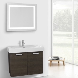32 Inch Grey Oak Wall Mount Bathroom Vanity with Fitted Ceramic Sink, Lighted Mirror Included ACF C274