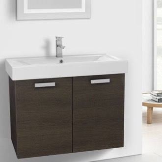 32 Inch Grey Oak Wall Mount Bathroom Vanity with Fitted Ceramic Sink ACF C147