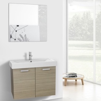 32 Inch Larch Canapa Wall Mount Bathroom Vanity with Fitted Ceramic Sink, Mirror Included ACF C278