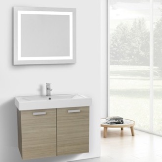32 Inch Larch Canapa Wall Mount Bathroom Vanity with Fitted Ceramic Sink, Lighted Mirror Included ACF C280