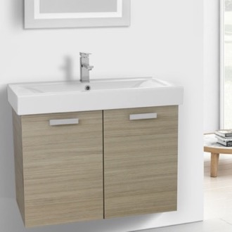 Bathroom Vanity 32 Inch Larch Canapa Wall Mount Bathroom Vanity with Fitted Ceramic Sink ACF C148