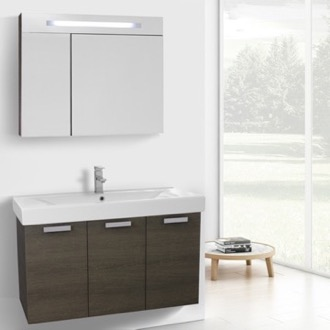 39 Inch Grey Oak Wall Mount Bathroom Vanity with Fitted Ceramic Sink, Lighted Medicine Cabinet Included ACF C961