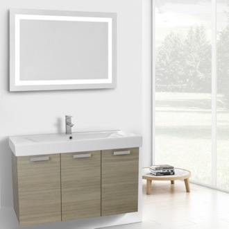 Bathroom Vanity 39 Inch Larch Canapa Wall Mount Bathroom Vanity with Fitted Ceramic Sink, Lighted Mirror Included ACF C296