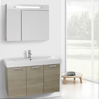 Bathroom Vanity 39 Inch Larch Canapa Wall Mount Bathroom Vanity with Fitted Ceramic Sink, Lighted Medicine Cabinet Included ACF C970