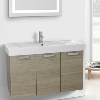Bathroom Vanity 39 Inch Larch Canapa Wall Mount Bathroom Vanity with Fitted Ceramic Sink ACF C152