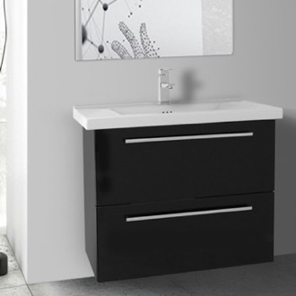 Bathroom Vanity 28 Inch Glossy Black Wall Bathroom Vanity Set, 2 Drawers Iotti FN20