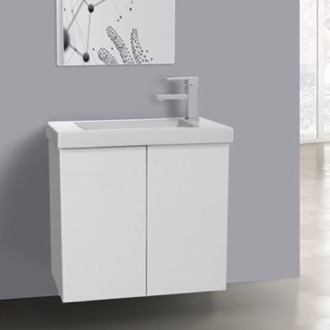 Bathroom Vanity 23 Inch Glossy White Bathroom Vanity with Ceramic Sink Iotti HD04