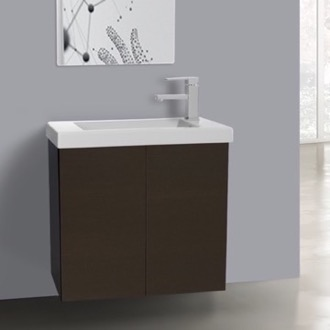 Bathroom Vanity 23 Inch Wenge Bathroom Vanity with Ceramic Sink Iotti HD05