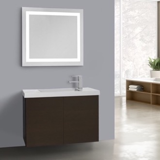 Bathroom Vanity 31 Inch Wenge Bathroom Vanity, Wall Mounted, Lighted Mirror Included Iotti HD231