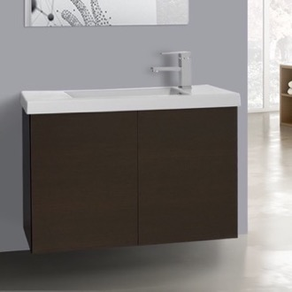 Bathroom Vanity 31 Inch Wenge Bathroom Vanity with Ceramic Sink Iotti HD08