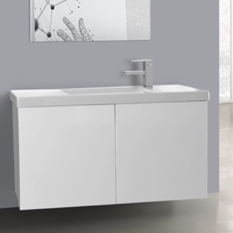 Bathroom Vanity 39 Inch Glossy White Bathroom Vanity with Ceramic Sink Iotti HD10