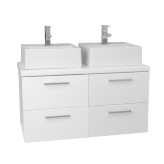 Bathroom Vanity 37 Inch Glossy White Double Vessel Sink Bathroom Vanity, Wall Mounted AN26 Iotti AN26