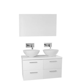 Bathroom Vanity 37 Inch Glossy White Double Vessel Sink Bathroom Vanity, Wall Mounted, Mirror Included AN364 Iotti AN364