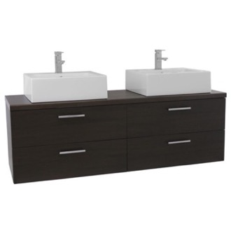 Bathroom Vanity 61 Inch Wenge Double Vessel Sink Bathroom Vanity, Wall Mounted Iotti AN77