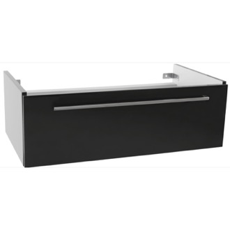 Vanity Cabinet 36 Inch Wall Mount Glossy Black Vanity Cabinet Iotti FN04