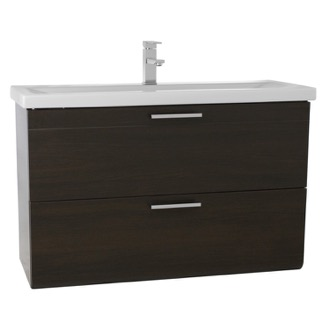 Bathroom Vanity 38 Inch Wenge Wall Mounted Vanity with Fitted Sink Iotti LN30