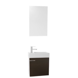 Bathroom Vanity 21 Inch Space Saving Wenge Wall Mounted Bathroom Vanity Sink, Mirror Included Iotti LA34