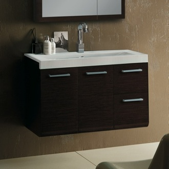 38 Inch Vanity Cabinet with Self Rimming Sink Iotti LE1C-Wenge