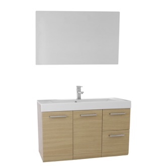 Bathroom Vanity 38 Inch Natural Oak Wall Mounted Vanity with Ceramic Sink, Mirror Included Iotti MC30
