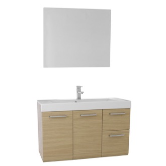 Bathroom Vanity 38 Inch Natural Oak Wall Mounted Vanity with Ceramic Sink, Mirror Included MC134 Iotti MC134