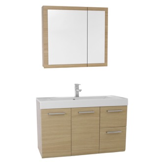 Bathroom Vanity 38 Inch Natural Oak Wall Mounted Vanity with Ceramic Sink, Medicine Cabinet Included MC42 Iotti MC42