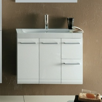 30 Inch Vanity Cabinet with Self Rimming Sink Iotti LE3C-Glossy White