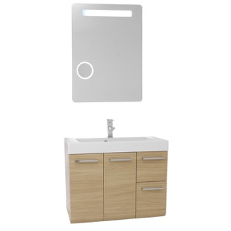 Bathroom Vanity 30 Inch Natural Oak Wall Mounted Vanity with Ceramic Sink, Lighted Mirror Included MC48 Iotti MC48