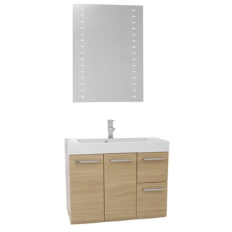 Bathroom Vanity 30 Inch Natural Oak Wall Mounted Vanity with Ceramic Sink, Lighted Mirror Included MC51 Iotti MC51