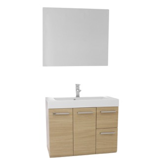 Bathroom Vanity 30 Inch Natural Oak Wall Mounted Vanity with Ceramic Sink, Mirror Included MC27 Iotti MC27
