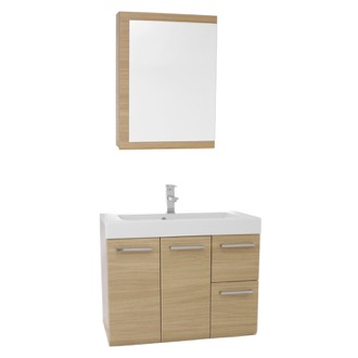 Bathroom Vanity 30 Inch Natural Oak Wall Mounted Vanity with Ceramic Sink, Medicine Cabinet Included MC39 Iotti MC39
