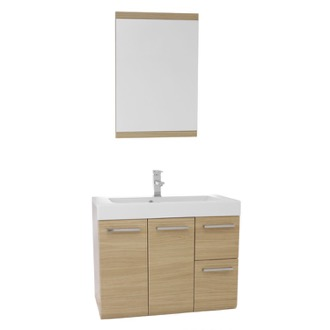 Bathroom Vanity 30 Inch Natural Oak Wall Mounted Vanity with Ceramic Sink, Mirror Included MC33 Iotti MC33