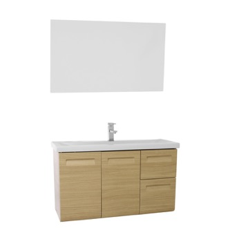 Bathroom Vanity 38 Inch Wall Mounted Natural Oak Vanity with Inset Handles, Mirror Included Iotti IN36