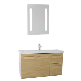 Bathroom Vanity 38 Inch Wall Mounted Natural Oak Vanity with Inset Handles, Lighted Mirror Included Iotti IN155