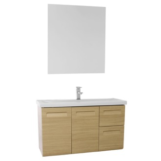 Bathroom Vanity 38 Inch Wall Mounted Natural Oak Vanity with Inset Handles, Mirror Included IN156 Iotti IN156