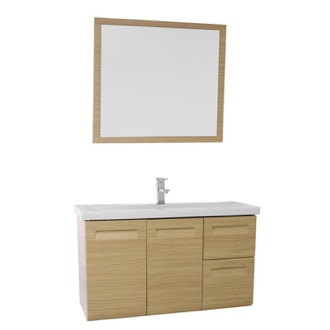 Bathroom Vanity 38 Inch Wall Mounted Natural Oak Vanity with Inset Handles, Mirror Included Iotti IN42
