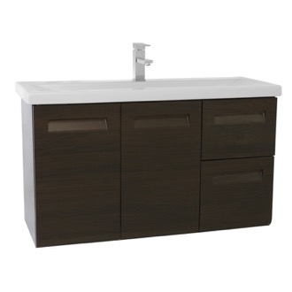 Bathroom Vanity 38 Inch Wall Mounted Wenge Vanity with Inset Handles Iotti IN11