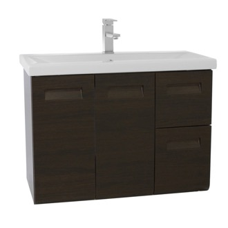 Bathroom Vanity 30 Inch Wall Mounted Wenge Vanity with Inset Handles Iotti IN08