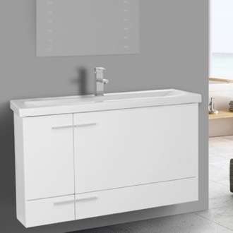 Bathroom Vanity 39 Inch Glossy White Wall Mounted Vanity with Ceramic Sink Iotti NS19